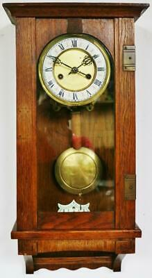 Antique HAC 8 Day Oak Vienna Wall Clock German Gong Striking Wall Clock