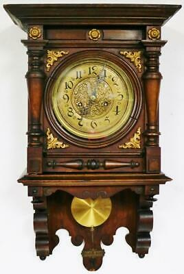 Antique 8 Day Mahogany Vienna Wall Clock German Striking Free Swinger Wall Clock