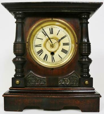 Rare American Shelf Clock Circa 1900 Carved 8 Day Timepiece Mantle Clock