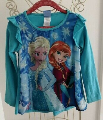 Girls age 4 years long sleeve top frozen story by DISNEY vgc FREE POSTAGE