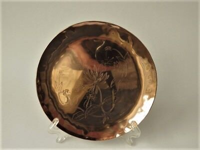 Arts & Crafts Style Copper Pin Tray  With Hand Engraved Botanical Decoration