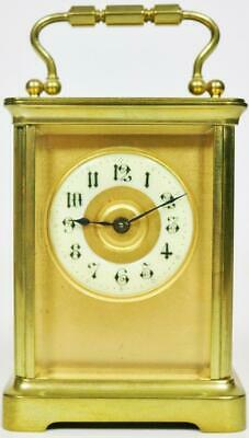 Antique French 8 Day Masked Dial Carriage Clock Brass Timepiece Carriage Clock