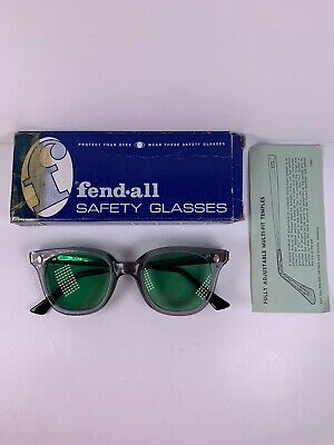 Vintage Fendall Safety Glasses T-30 Green Lenses 1448 Multi Fit Box Included