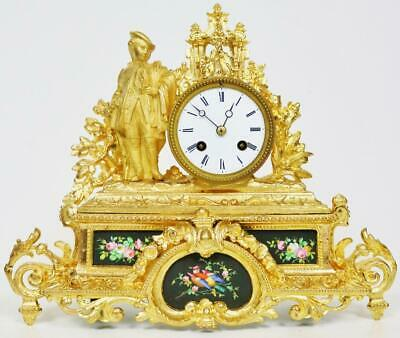 Antique French 8 Day Original Gilt Metal & Black Sevres Porcelain Mantel Clock