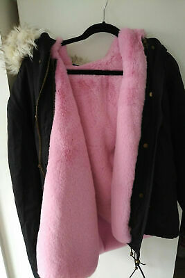Winter coat / parka detachable pink fur lining size S oversized hood worn once