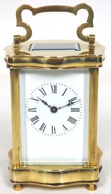 Antique French 8 Day Carriage Clock Gilt Brass Serpentine French Mantel Clock