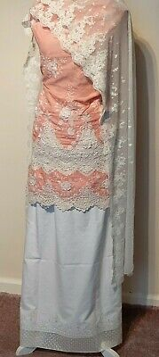 Pakistani Indian Heavy embroidered 3pc Lawn shalwar kameez for women Light Pink