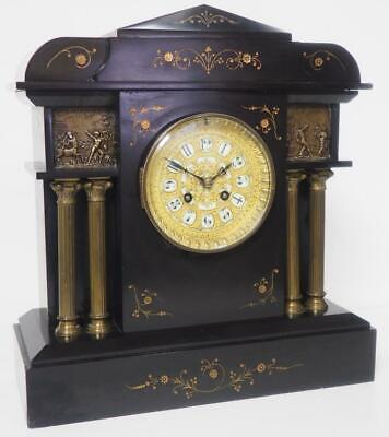 Antique French Mantel Clock Gong Striking Architectural 8 Day Slate Mantle Clock