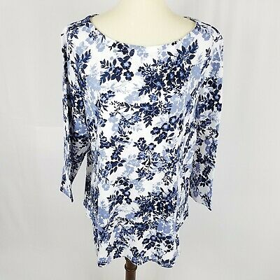 Charter Club womens top plus size 1X blue floral pima cotton long sleeves new