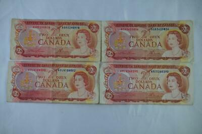 Lot of Four 1974 Bank of Canada $2 Two Dollar Note Ungraded See Description