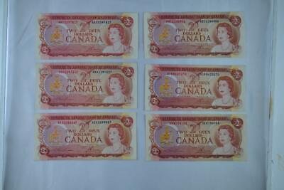 Lot of Six 1974 Bank of Canada $2 Two Dollar Note Ungraded See Description