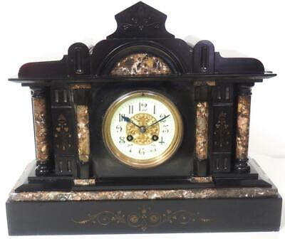 Antique 8 Day French Mantel Clock Gong Striking Architectural Slate Mantle Clock