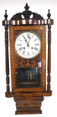 Antique Walnut Wall Clock Drop Dial Wall Clock 1890 8 Day Marquetry Wall Clock