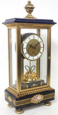 Hettich Vintage 4 Glass Mantel Clock Blue Sevres Porcelain Torsion Mantle Clock