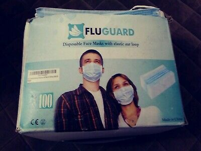New! 100 Count Fluguard 3 PLY Disposable Surgical Face Masks w/Ear Loops #12
