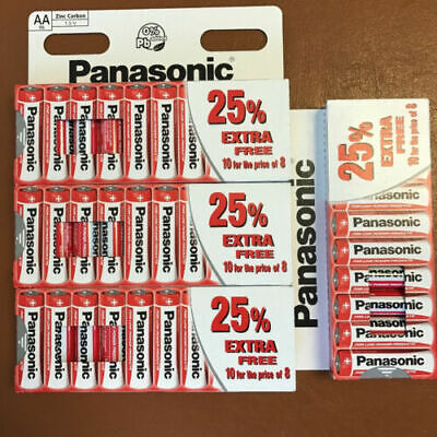 40 x AA Genuine PANASONIC Zinc Carbon Batteries - New R6 1.5V Expiry 2022