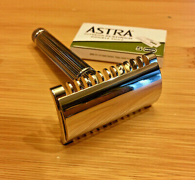 NEW NIB 3 piece nickel Fatip Piccolo open comb double edge DE safety razor Italy