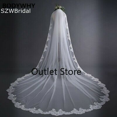 White  Wedding Veils Long Lace Edge Bridal Veil with Comb Wedding Accessories
