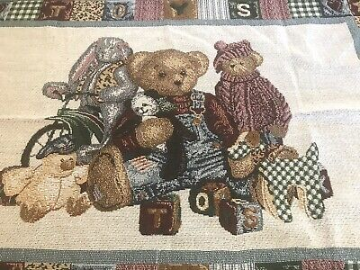 Blue Jean Teddy Woven Throw Baby Blanket Teddy & Friends Toys With Fringe