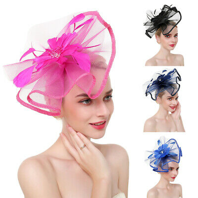 Girls Headwear Mesh Veil Hair Accessories Feather Fascinator Lady Hat Hairpin