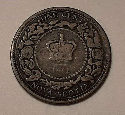 1861 Nova Scotia Large One Cent Coin (95% Copper) - Queen Victoria