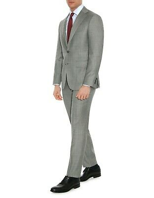 Canali Wool Mohair Gray Men's Business Suit Blazer Trousers Modern Fit Italy 46R