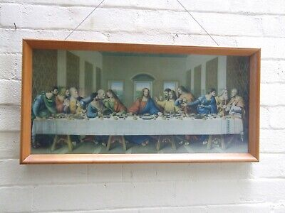 VINTAGE RELIGIOUS PICTURE '' THE LAST SUPPER''  CATHOLIC JESUS HOLY PRINT 1950's