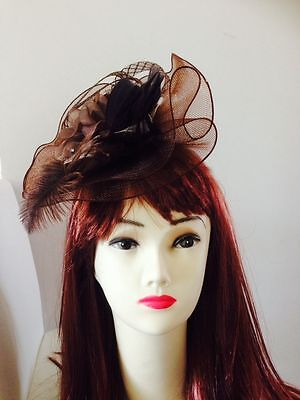 Wedding Party Carnival Races Feather Millinery Rose Fascinators Red Coffee Gray