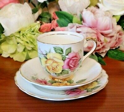 Lubern Bone China Pink Yellow Roses 22 kt Gold Tea Set Trio