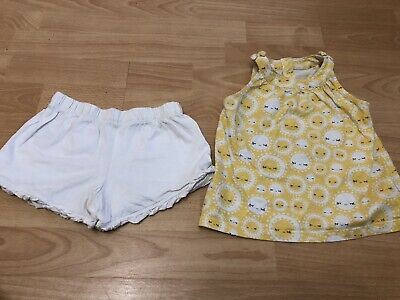 Girls Mothercare Yellow Sunshine Top White Shorts Outfit Size 3-4 Years