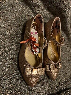 BNWT Beautiful Gold Glitter Girls Ted Baker Shoes Size 1 Rrp £35