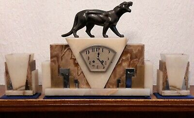 Antique French 8 Day Striking Art Deco Mantle Clock set Large Panther Figure