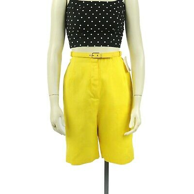 Vintage 60s Bobbie Brooks Yellow Cotton Belted High Waist Rockabilly Shorts S