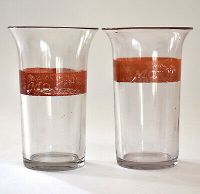 Two MOXIE Glass Soda Fountain Tumblers - Antique 19th C  - MINT! RARE!