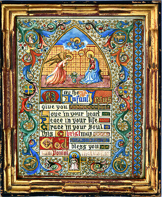 Hand Painted Antique Illuminated Manuscript Christmas Blessing - Signed, Dated