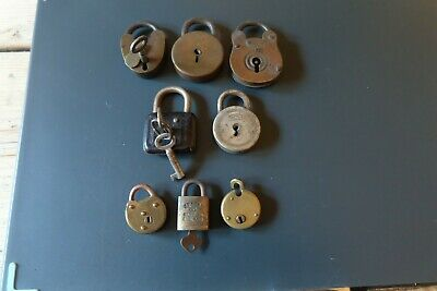 x8 vintage Padlocks brass and some with keys
