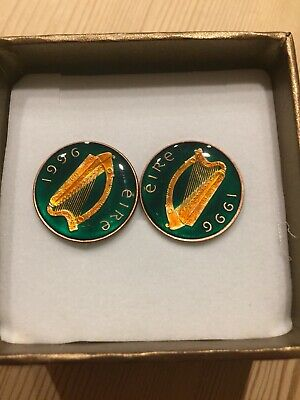 1996 Irish Coin Cufflinks On 1p Coin