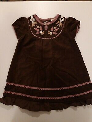 Designer Molly N' Jack Baby Girls Brown & Pink Thick Dress Size Age 6-9 Months