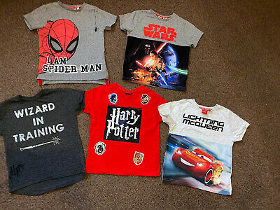 Boys 3-4 Years T-shirts Bundle Harry Potter Star Wars Spiderman