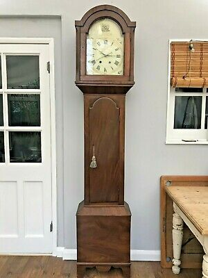 ** Antique 8 Day Longcase Clock * Flame Mahogany Case * Lead Weights **