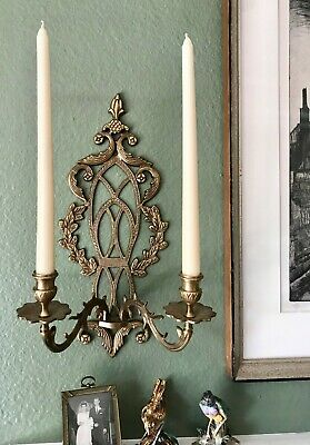 """BRASS CANDLE SCONCE Double Arm LAUREL WREATH Gothic Panes 17.5"""""""