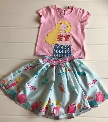 Girls Joules Age 3 Years Mermaid Print Skirt & Applique Top Summer  Outfit Cute