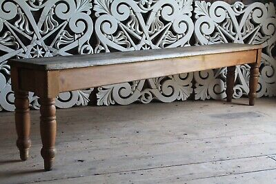 Victorian 8ft Pine Bench,Antique Pine Bench,Pine Hall Bench,