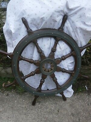 Antique hardwood ships wheel