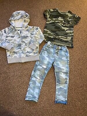 Boys Next Zipped Jacket Jeans And Top Age 3-4 Years Camouflage Design