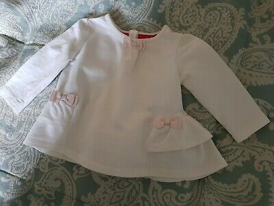 Ted Baker Baby Girls White & Pink Bow Long Sleeved Dress Age 3/6 Months