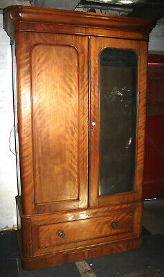 Antique Mid Victorian Satinwood double wardrobe armoire compactum chest