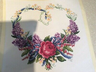 """Completed Cross Stitch ~ ROSE FLORAL GARLAND HEART ~ 9"""" Square Finished"""