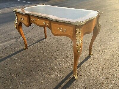 19th century French Louis XV antique desk ornate brass leather top antique
