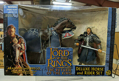 ToyBiz Lord of the Rings RotK Aragorn w/Brego Deluxe Horse & Rider Set - Sealed